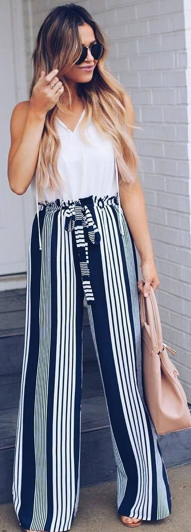 #spring #outfits white top, striped wide leg pants