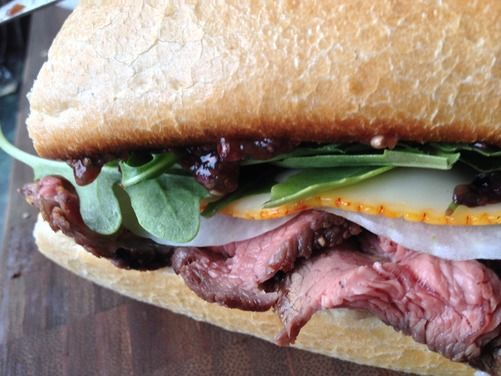Flat Iron Steak Sandwich with Blueberry Balsamic Ginger 'Jam', a recipe on Food52