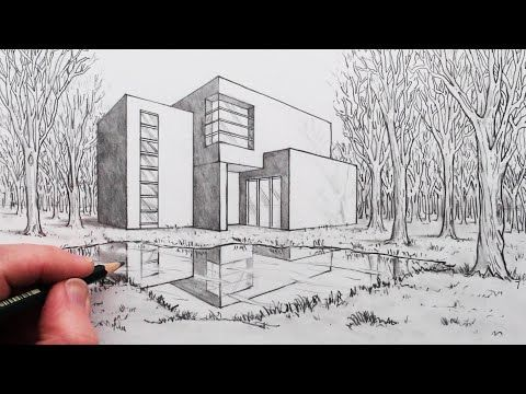 How To Draw A House In 2 Point Perspective With Reflection In Landscape Youtube In 2020 Perspective Art Point Perspective 2 Point Perspective Drawing