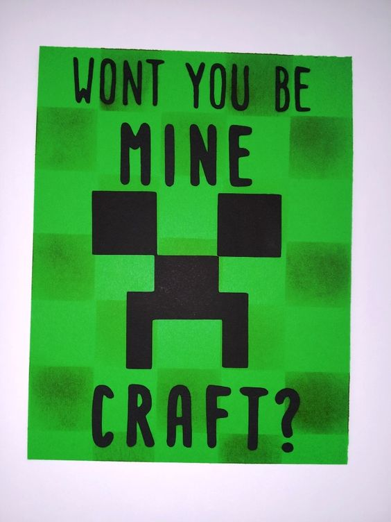 Minecraft Valentine Card