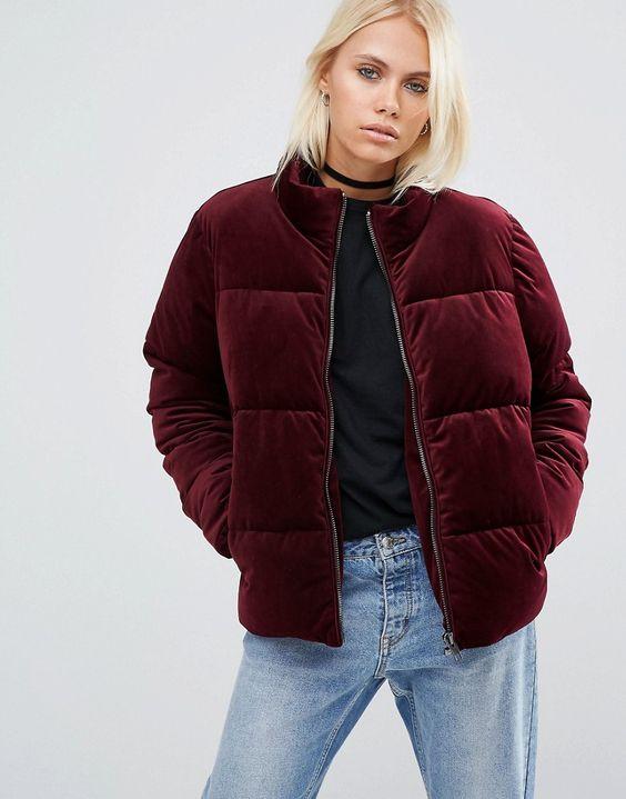 Image 1 of ASOS Velvet Padded Jacket