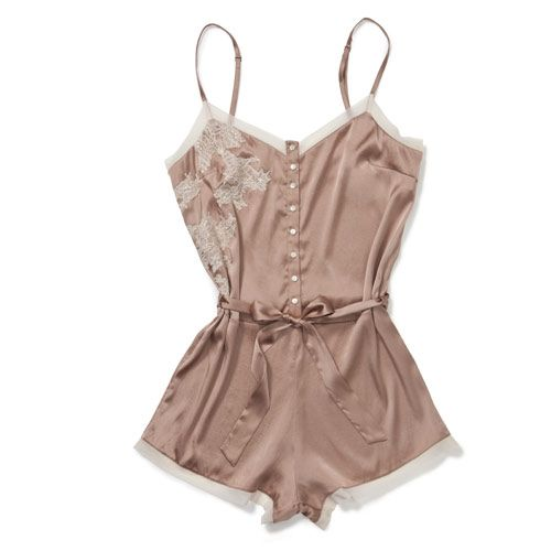 Elle Macpherson Intimates | MARIA in Blush Pink with detailed hand cut applique lace appliedover stretch silk for highlight detail.