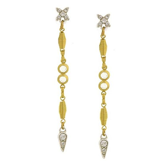 A delicate, art deco inspired pair of earrings
