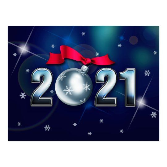 Happy New Year 2021 Christmas Bauble Holiday Postcard Zazzle Com In 2020 Custom Holiday Card Holiday Postcards New Year Greeting Cards