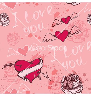 Seamless pattern with hearts for valentines day vector - by Artspace on VectorStock®