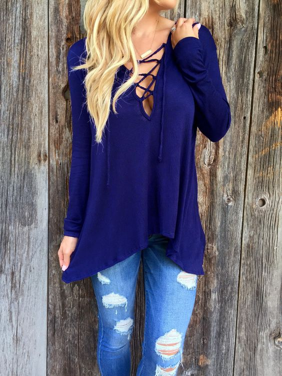 Solid Color Lace-up Front Long Sleeve Hooded Tee