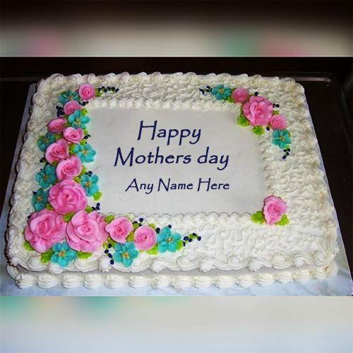 Write Name On Mothers Day Cake Image Birthday Wishes Cake Birthday Cake Writing Happy Birthday Mom Cake
