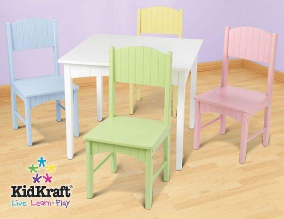 KidKraft Nantucket Table 4 Pastel Chairs 26101 Kid Pastel Colors A