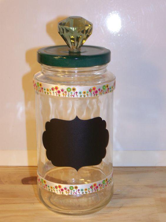 Green Jewel Handle Chalkboard Jar