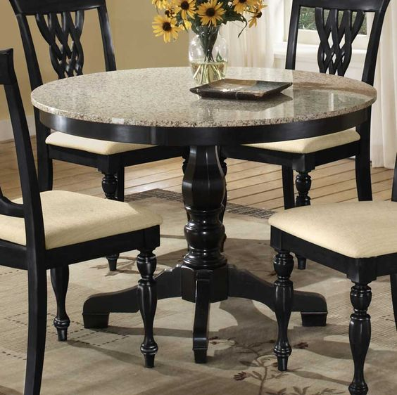 Granite Dining Table Set: Dark Wood Round Counter Height Kitchen Table And 4 Chirs