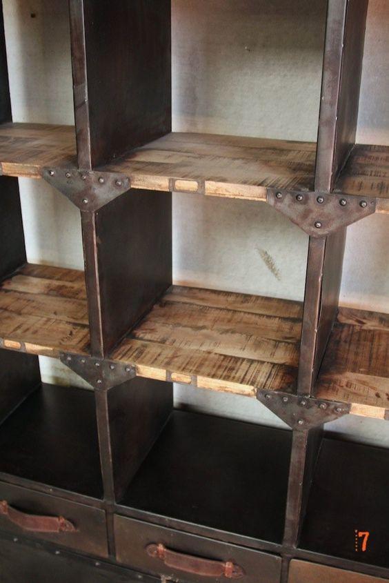 Vaisselier industriel meuble industriel de salle manger mobilier pinte - Meuble rangement salle a manger ...