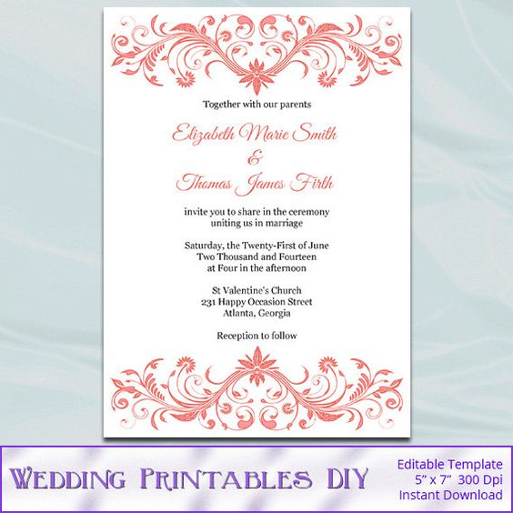 Coral Wedding Invitation Template Diy Printable Bridal