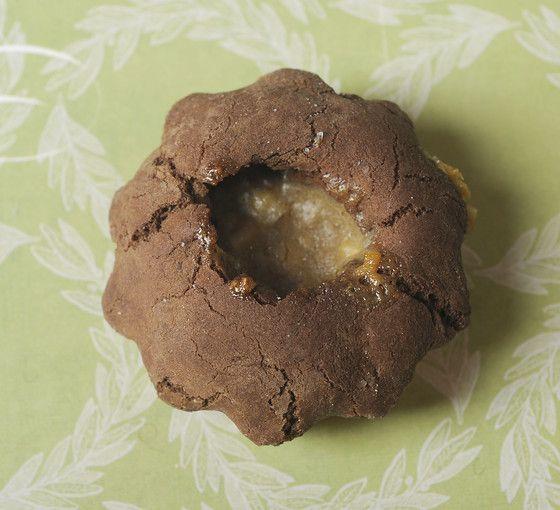 Deep Chocolate Caramel Hazelnut Cups cookie recipe with vanilla, chocolate chips, caramel candy, mascarpone and hazelnuts.