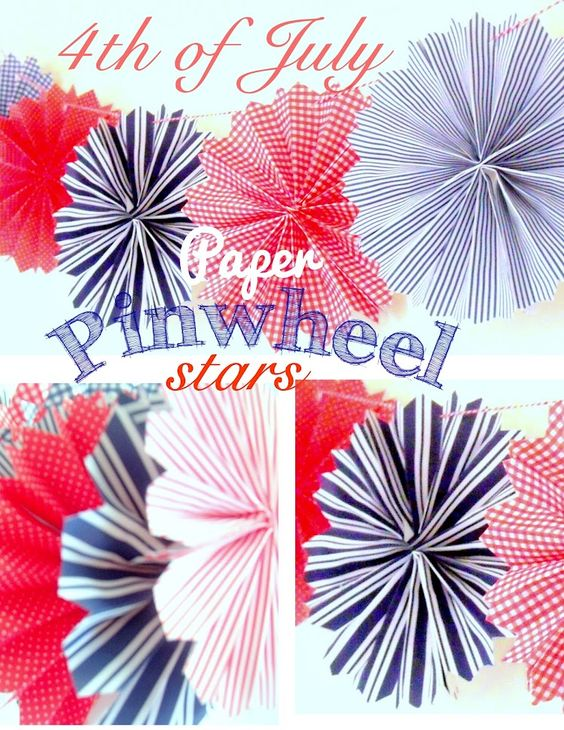 Pinecone: 4th of July - paper pinwheel stars hung on baker's twine...BOOM!