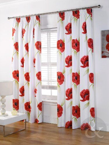 CREAM & RED POPPIES CURTAIN - Pencil Pleat Lined Ready Made Floral ...