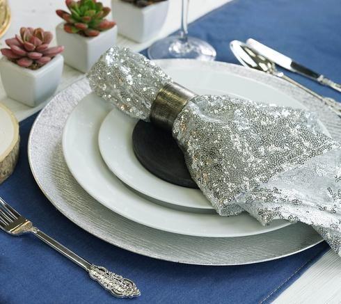 20 X20 Silver Premium Sequin Napkin Cheap Wedding Supplies Wedding Supplies Wholesale Mercury Glass Candle Holders