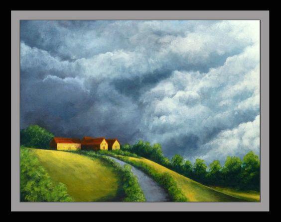 Storm over Le Dorat, France - Acrylic on canvas - 65 x 50 cm by Richard Edwards