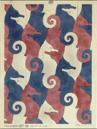 M.C. Escher – Sea Horse (No. 11) 1937-1938 Pencil, ink, watercolor.