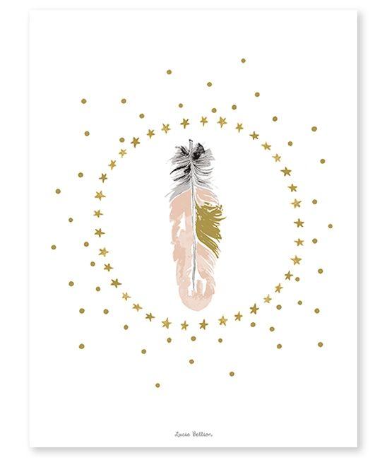 Affiche déco plumes et étoiles