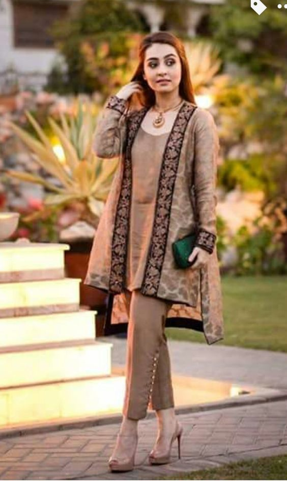 Stitching Styles Of Pakistani Dresses Brown Jacket Style
