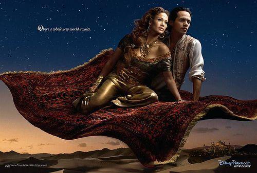 Annie Leibovitz Celebrity Disney Dream Photo Series: Jennifer Lopez and Marc Anthony as Jasmine and Aladdin
