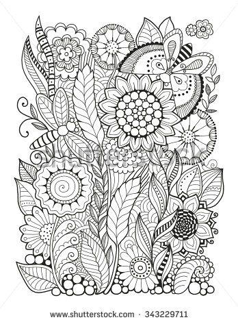 Flowers Zentangle Stock Photos, Images, & Pictures | Shutterstock