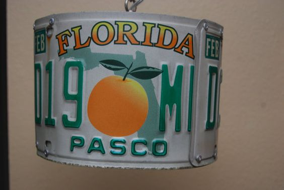 Check out this item in my Etsy shop https://www.etsy.com/listing/501788211/florida-license-plate-swag-lamp
