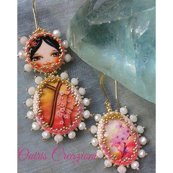 【oniris_creazioni】さんのInstagramをピンしています。 《La #piccola #kokeshi #Aurora ❤pezzo unico dipinto a mano da @monica.elisa9  #orecchini #pezziunici #earrings #dolls #fiori di #ciliegio #verde #summer #fattoamano #agoefilo #artigianato #dawn #handmadejewellery #handcrafted #madewithlove #madeinrome #madeinitaly #lovemyjob #bestofday #instagood #diy #mokiko #estate #amore #cherryblossoms》