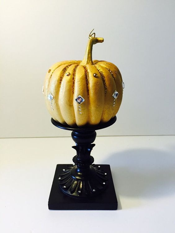 Fall Centerpiece Ornate Shimmery Gold Pumpkin by LydiasThriftyShop