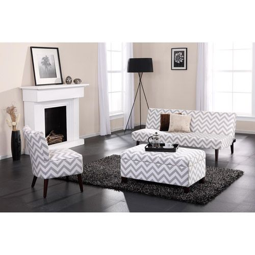 Kinsley Chevron Futon with Optional Pieces, Gray $149