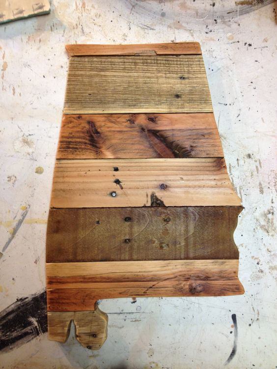 The state of alabama made from pallet wood glued to for Projects made out of wood