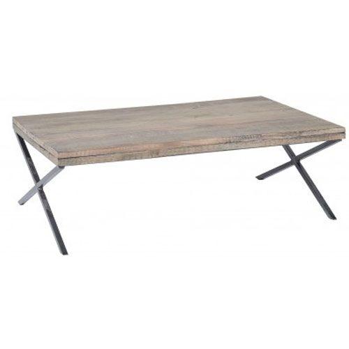 Table basse en bois et pied métal Vieux bois Jardin d\'Ulysse ...