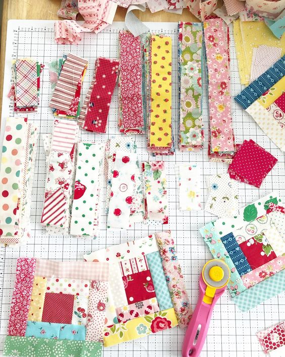 Vintage log cabin blocks made with fabric scraps