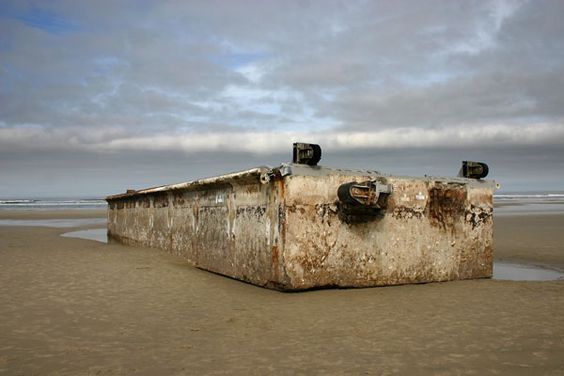 Derelict Dock washes ashore at Agate Beach, OR.  The dock broke loose from the Japan coast when tsunami hit.: Derelict Dock, Agate Beach, Oregon Gemstones, Dock Washes, Oregon Cold, Cold Wet, Dock Broke