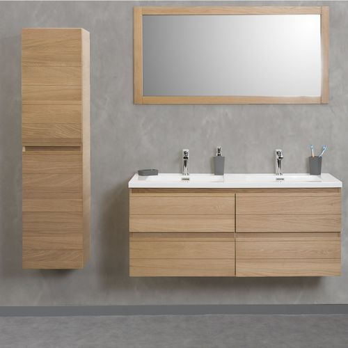 Meuble sous vasque double abeas 120cm 4 tiroirs ch ne for Meubles salle de bain alinea