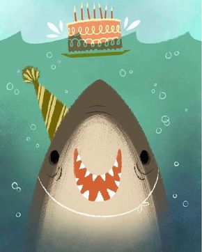 """Happy shark illustrated by @melaniedemmer #ohhdeer #cute #happy #shark #birthday #funny #illustration #art #creative"""