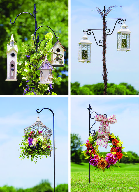 Homemade wreaths, Shepherds hook and Bird feeders on Pinterest