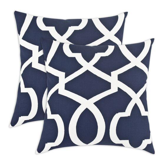 Morrow Blue 17-inch KE Fiber Throw Pillow (Set of 2) - Overstock™ Shopping - Great Deals on Throw Pillows