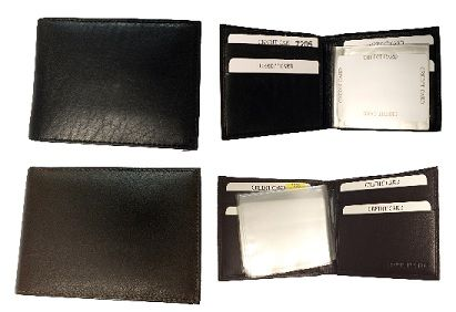 Basic Billfold Leather Wallet - Item LW-7205 - Basic Billfold Leather Wallet Comes in 2 colors - Black or Brown Basic billfold with extra credit card holders.