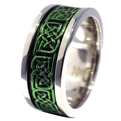 Green Celtic Spinner Ring Stainless Steel Fidget Wedding Band