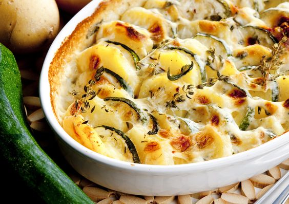 CHEESY POTATO & ZUCCHINI BAKE Potato bake has to be one of my favourite dishes and what's not to love about a dish based around cheese, potatoes and cream?! How do I justify this creamy carb ov...