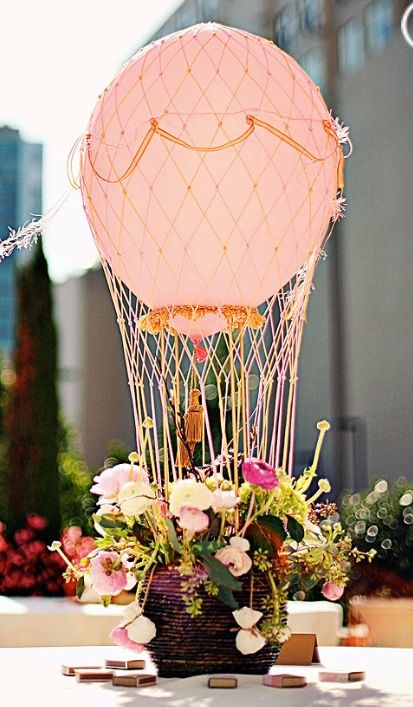 BABY SHOWER~balloon flower arrangement | pink hot-air balloon centrepiece for a sunny daylight event!| These 20 Unique Floral Centrepiece Ideas Are Irresistibly Screenshot-Worthy! | Function Mania