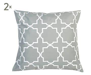 Set de 2 fundas de cojín, gris y blanco - 80x80 cm
