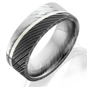 This contemporary mens damascus steel wedding band features 8mm flat band accented with 1mm of sterling silver set at an angle.