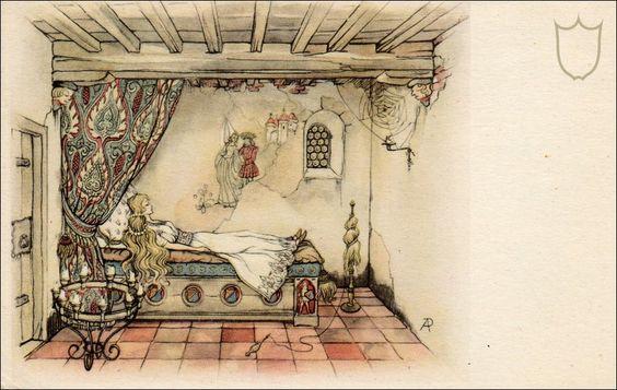 Anton pieck - Kasteel doornroosje kamer interieur.He was the designer of a Dutch park with lots of fairy tale figures. called ..The Efteling.