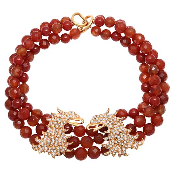 Carnelian Necklace with Thunder Something to remember the year of the Dragon!  Like these Dragons Contemporary Design Torsade in22kt gold plated, faux diamonds, still Faux fabulous!: