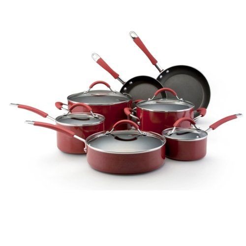 Kitchenaid aluminum nonstick 12 piece cookware set red at - Kitchen aid pan set ...