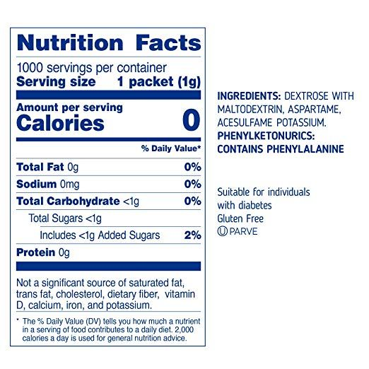 Sugarly Sweet By Equal Zero Calorie Sweetener With Aspartame 1000 Packets Blue Sweetener Packets Ingredients De Sucralose Sugar Alternatives Sweetener