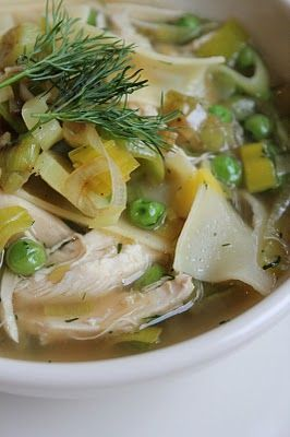 Roast Chicken Noodle Soup with Caramelized Leeks, Peas & Garnished with Dill