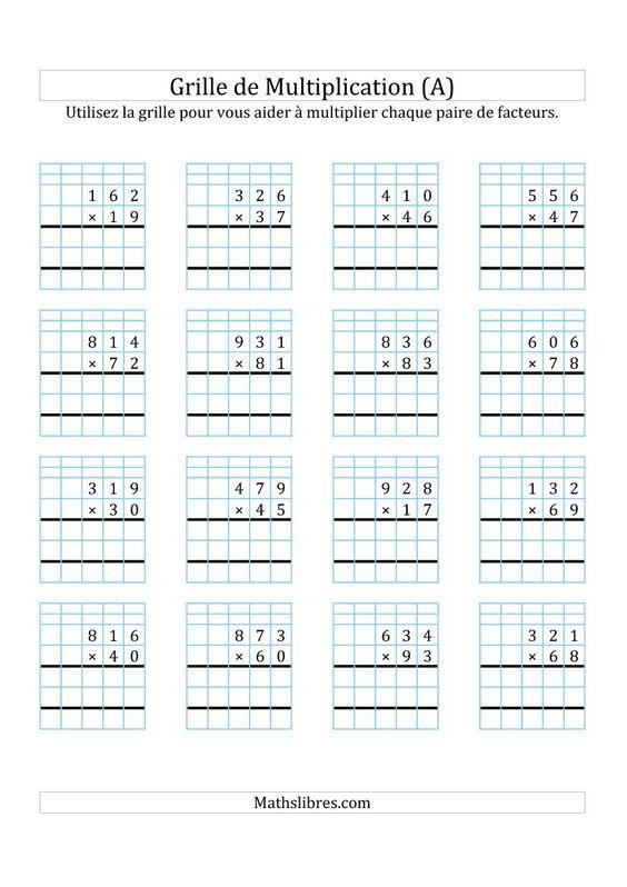 Multiplication de nombres 3 chiffres par des nombres 2 for Exercice de multiplication cm1